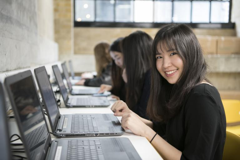 Students at laptops